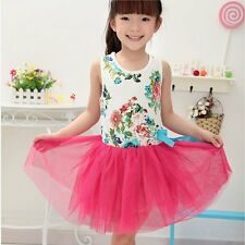 Baby Kids Girls Flowers Fancy Princess Tulle Tutu Dress Bowknot Party Skirts New