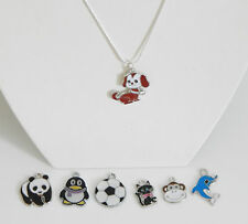 """SILVER PLATED 18"""" NECKLACE CHAIN & CHOICE OF PENDANT DOG PANDA PENGUIN CAT BALL"""