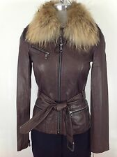Andrew Marc NWT Oak  Glamorous leather jacket with oversized fur collar and Belt