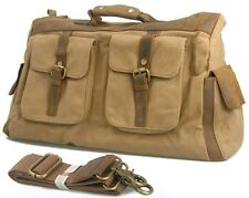 Retro military canvas leather Travel Luggage Bag Tote Duffle Gym Bag Messenger