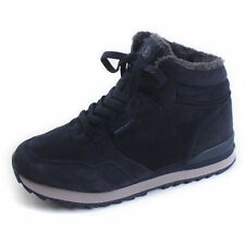 Womens Navy Blue Fur Winter Snow Warm Lace Up Trainers Running Sneakers