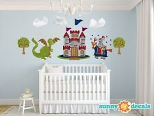 Knight and Dragon Fabric Wall Decals with Knight Castle Trees, 2 Sizes Available