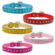 Bling Rhinestone Soft Glitter PU Leather Dog Puppy Collars with Diamond Buckle