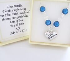 MID BLUE pearl CHAIN necklace,boxed ,Bridesmaid,Flower girl,Mother,Wedding gift,