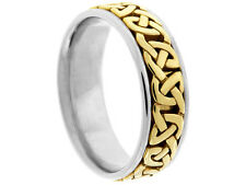 2TONE PLATINUM 18K YELLOW GOLD  CELTIC 7mm COMFORT FIT WEDDING BAND
