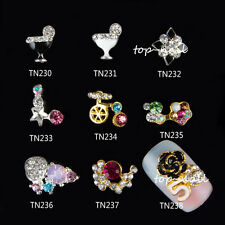 New 10x 3D Colorful Flower Alloy Nail Art Decoration Jewelry Glitter Rhinestone