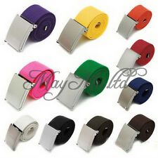 Fashion Mens Boys Plain Webbing Cotton Canvas Metal Buckle Belt 12Candy Colors M