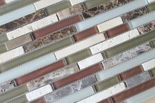 Anatolia Bliss Cabernet Glass and Stone Random Strip Mosaic Tiles-Backsplash