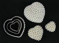 SET OF 3 HANDMADE PEARL TRINKET JEWELLERY BOX WEDDING FAVOURS GIFT
