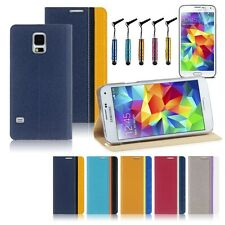 Luxury Flip Leather Case Cover+Stylus Pen+Screen Protector for Samsung Galaxy S5