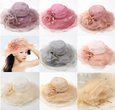 Women lady's Outdoor Hat Organza Dress Church Wedding Kentucky Derby Hat Sun Cap