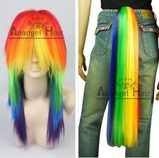 Free Hair Cap+My Little Pony Rainbow Dash Cosplay Wig Tail Ponytail Multi Color
