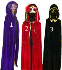 Velvet Hooded Cloak Wicca Robe Medieval Witchcraft Halloween Larp Cape 3style