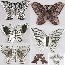 50Pcs Beautiful Both sides Filigree Hollow Out Butterfly Metal Charms Pendants