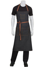 Chef works denim memphis adjustable bib apron, black or indigo blue, AB036