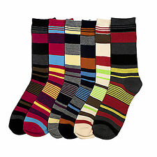 12-6 Pairs Lot Womens Mens Striped Dress Socks Crew Design Multi-Color Fashion