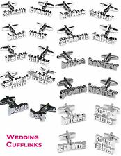 Silver Cut Out 3D wedding cufflinks cuff link Groom Best Man Usher Free UK P&P