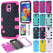 Heavy Duty Impact Rubber Bling Diamond Matte PC Combo Case for Samsung Galaxy S5