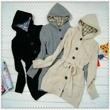 Women's Long Sleeve Hoodie Coat Cardigans trench Sweater + 1 belt 3 Colors