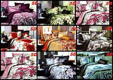 SINGLE 3 PCS BEDDING SET SATIN /COTTON DUVET COVER PILLOWCASES! PRINTED 5D