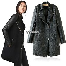 Women Long Sleeve Outerwear Stand-Up Collar Wool Blends Leather Jackets Coat CO9