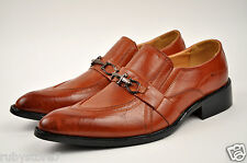 Men's Brown Dress Shoes Slip On Loafers Buckle Man Made Leather Medium(D, M) Y07