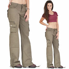New Ladies Womens Army Green Wide Combat Trousers Cargo Jeans Boyfriend Pants