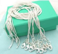 Free shipping 1mm 2 mm 925 sterling silver 5 PCS 16-24 snake chain necklace