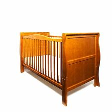NEW ANTIQUE PINE WOOD SLEIGH COT BED & NEW QUALITY COTBED SAFETY MATTRESS