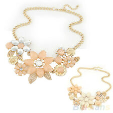 Hot Womens Pink Flower Choker Bib Statement Necklace Collar Chain Choker Pendant