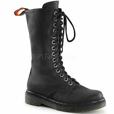 DEMONIA Womens Combat Military Style Shoes Goth Punk Calf Boots RAGE-300 Black