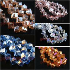 Glass Crystal Faceted Bevel Hole Cube Beads Loose Spacer Finding 10x10mm Charms