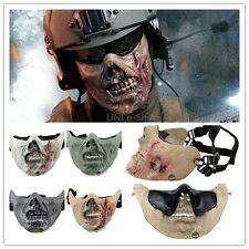 Airsoft Half Face Protective Military Zombie Skull Mask for Hunting War Gun Game
