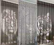 Wild Animal Big Cat Sheer Voile Net Curtain Panel With Slot Top Rod Pocket