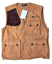 POLO RALPH LAUREN BROWN KHAKI BROWN LEATHER PATCH HUNTING UTILITY VEST $295+