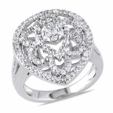 White Goldplated Sterling Silver Cubic Zirconia Fashion Cocktail Ring 1.37 Ct TW