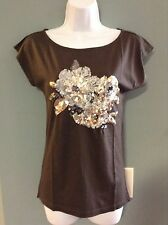 Ann Taylor LOFT Embellished Brown Top NWT (Multiple Sizes) AWESOME BUY!!!