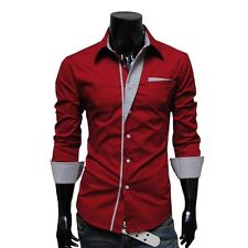 New Fashion Mens Luxury Long Sleeve Casual Slim Fit Stylish Dress Shirts 4-Color