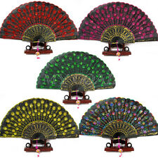 Spanish Embroidered Folding Sequins Hand Flower Lace Fan Wedding Party Decor Hot