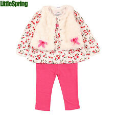 Baby 3pc set flower witner clothes suit, baby girls bowtie outfit sets TJ-T0163