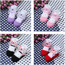Kid Baby Unisex Dots Anti-slip Socks Cotton Chiffon Bow Shoes Boot Stocking 1-4Y