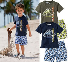 Summer Fall Kids Boys Dinosaur Tops T-Shirts Pants Shorts Outfit Pajamas Sets