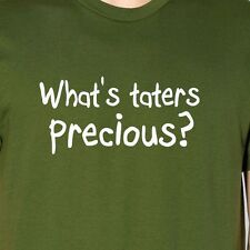WHAT'S TATERS PRECIOUS American Apparel T-Shirt white ink gollum smeagol lotr