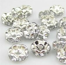 100pcs Czech Crystal Rhinestone Rondelle Spacer Beads Bead Cap 8mm 6mm