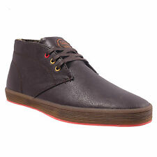 Fish N Chips Rod Mens Brown Synthetic Leather Lace Up Trainers