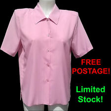 Ladies Short Sleeve Blouse / Shirt. New Womens Blouses Size 12 14 16 In Pink