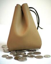 Medieval/Larp/SCA/Pagan/Reenactment TAN  Leather DRAWSTRING MONEY POUCH/BAG