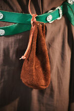 LARP-Pagan-Reenactment-Medieval-SCA BROWN SUEDE Leather Money-Dice Bag