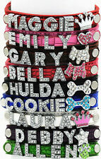 Dog Pet Cat Puppy Personalized Customize Name Croc Pu Collar Rhinestone Crystal