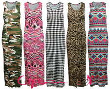 NEW WOMENS LADIES PRINTED LEOPARD AZTEC BODYCON RACER BACK MAXI DRESS 8-14